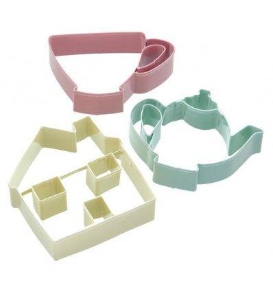 Set cortador de galletas - casa,tetera y taza