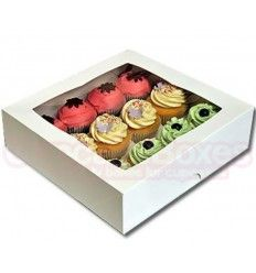 Caja para 24 mini cupcakes blanca con ventana.