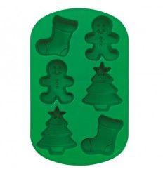Molde silicona para horno figuras navidad calcetín, muñeco jengibre, árbol