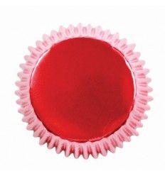 Cápsulas para cupcakes rojo metalizado 30ud