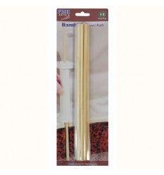 Palos de bamboo para tartas o algodón de azúcar 30 cm 12ud