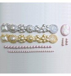 Molde de silicona, bordes perlas y camafeo