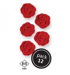 Flores de azúcar Rosas de color Rojo, 12 Ud