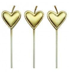 Velas corazones dorados 8 piezas