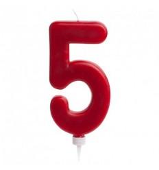 Vela gigante nº 5 Rojo de 15 cm