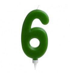 Vela gigante nº 6 Verde de 15 cm