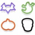 Set 4 cortadores galletas Halloween, calabaza, murcielago,fantasma y calavera