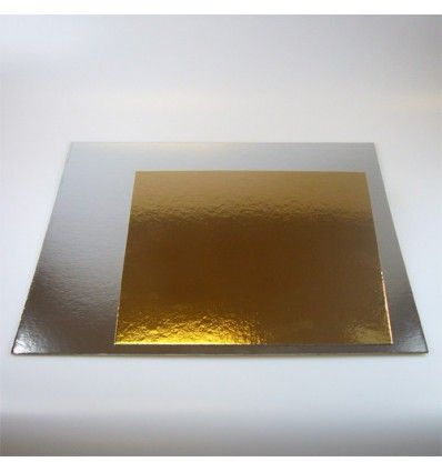 Base de cartón bicolor 25x25 (plateado y dorado) 1ud