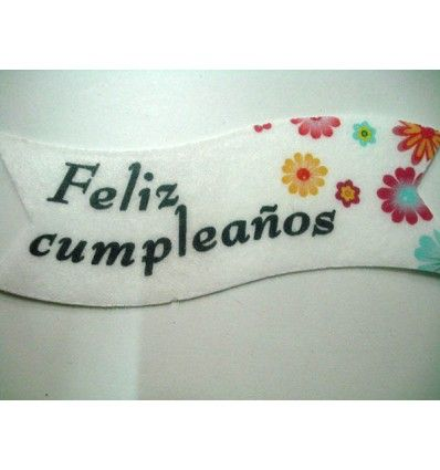 Oblea 'Feliz cumpleaños'. 10 cm