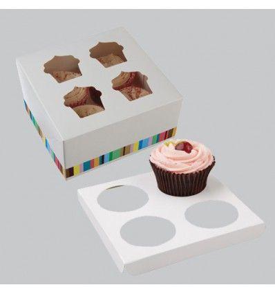 Caja 4 cupcakes rayas colores con separadores