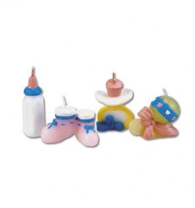 Velas tema accesorios bebé, 4 unidades