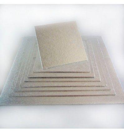 Base cuadrada plateada semi-rígida 25cm