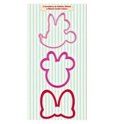 Set 3 cortadores para galletas Minnie con varias formas