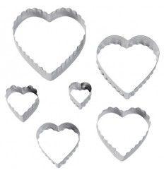 Set 6 cortadores corazón doble corte