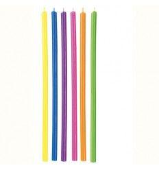 Velas largas multicolor, 15 cm 12ud