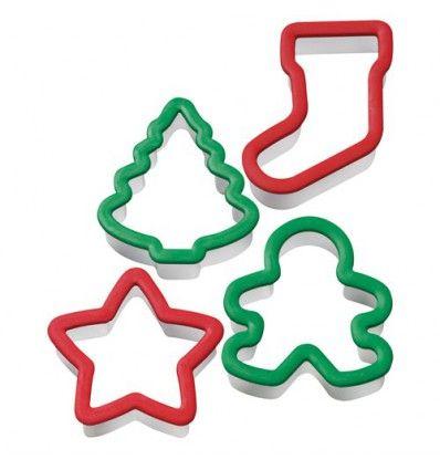 Set 4 cortadores mango ergonomico navidad