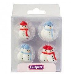Decoraciones comestibles muñeco de nieve 12ud