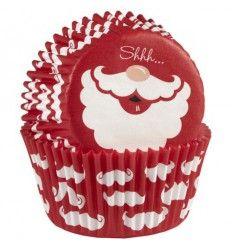 Cápsulas Cupcakes Santa claus con bigotes 75ud