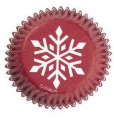 Cápsulas mini cupcakes copo nieve en rojo 100ud