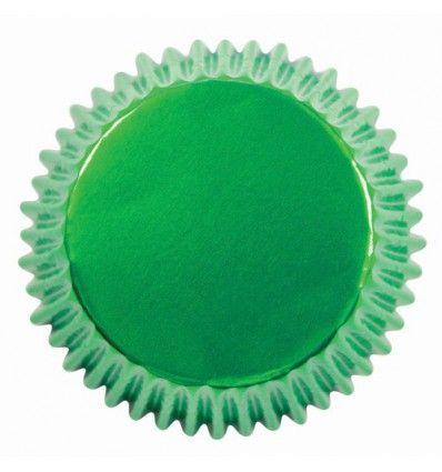 Cápsulas cupcakes verde metalizado, 30ud