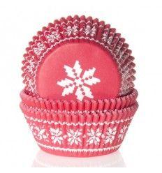 Cápsulas cupcakes estrella rojo 50ud