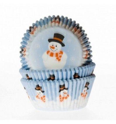 Cápsulas cupcakes muñeco de nieve 50ud