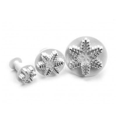 Set 3 cortadores copo nieve cristal de hielo con expulsor