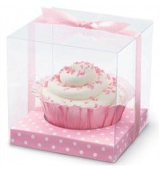 Caja acetato transparente para cupcake, base rosa topos 1ud