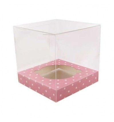 Caja acetato transparente para cupcake, base blanca 1ud