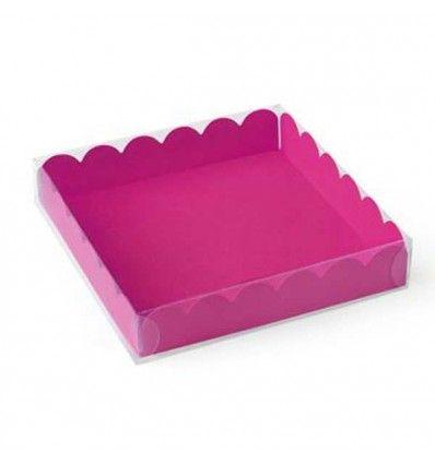 Caja bandeja blanca con tapa transparente 12x12x2 cm
