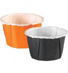 Mini Cápsulas plisadas Negro y Naranja, 24Ud