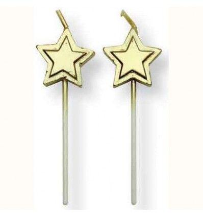Velas Estrellas doradas 8 piezas