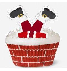 Set Cupcakes Santa Claus con decoraciones, 24 Ud