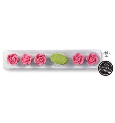 Rosas de ázucar en color rosa y sus hojas 5 Ud