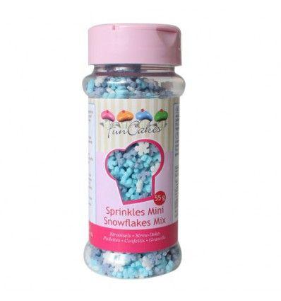 Mini copos de nieve de azúcar azul, lila y blanco