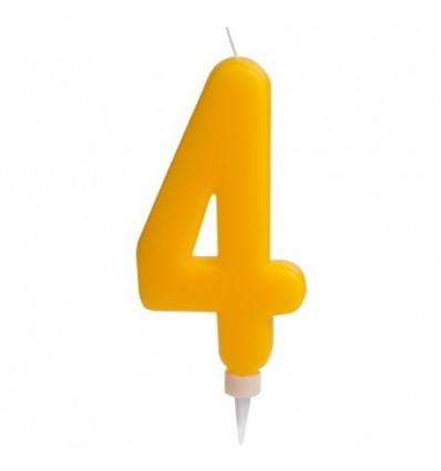 Vela gigante nº 4 Amarilla de 15 cm
