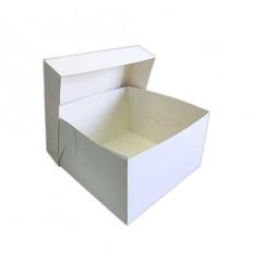 Caja blanca cuadrada para pastel 25x25x15 cm
