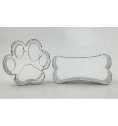Cortador galletas forma huella y hueso de perro