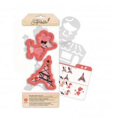 Set cortadores con plantillas Torre Eiffel y perrito