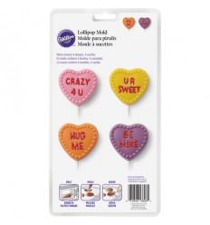 Molde para chocolate corazones románticos