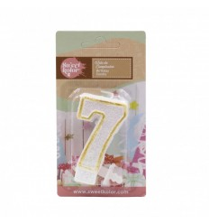 Vela de cumpleaños Oro nº 7