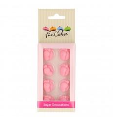 Piececitos rosas de azúcar 16 ud