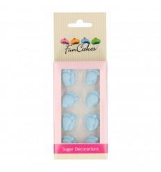 Piececitos de bebe azules de azúcar 16 ud