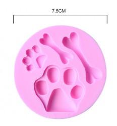 Molde silicona huellas y hueso de perro