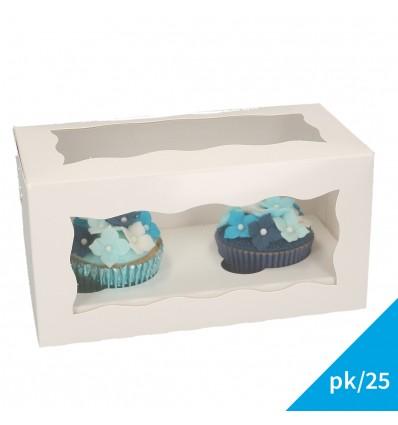Caja cupcake para 2 ud con ventana y sujeción interior