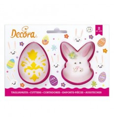 Set cortadores Cara de conejo y huevo Pascua