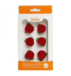Decoraciones De Azucar Rosa Roja Con Hojas