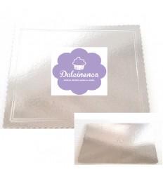 Base rectangular plateada para pastel 40x50 cm