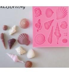 Molde silicona diferentes conchas de mar