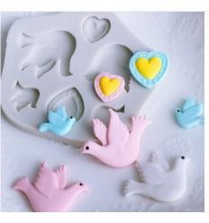 Molde silicona palomas y corazones